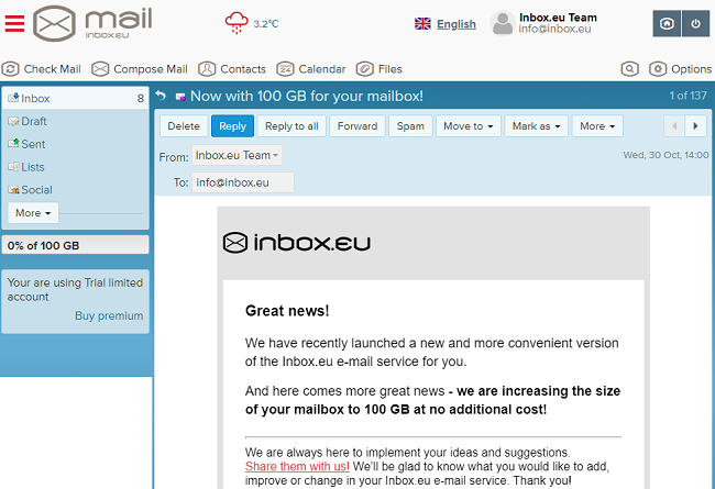 Inbox.eu 100 GB!